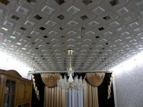 Вид потолка в интерьере