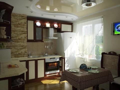 Изящная многоуровневая конструкция в небольшой кухне