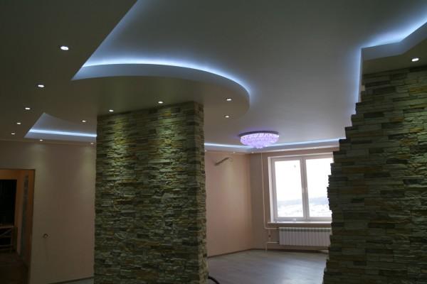 Как подсветить натяжной потолок: один из вариантов