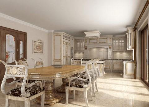 Какие потолки можно сделать на кухне - побелка органично смотрится в классических интерьерах, так как создает ровное матовое покрытие