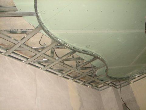 Каркас гипсокартонного потолка с криволинейным переходом между уровнями