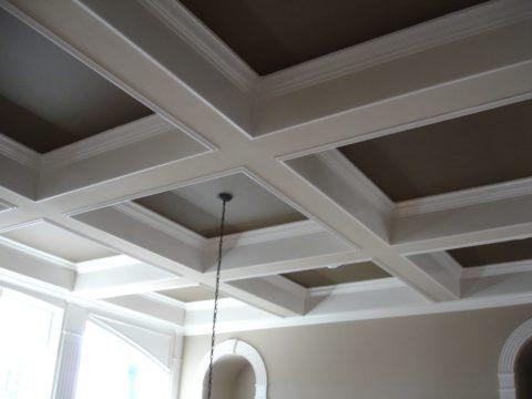 Кессонный подвесной потолок с темными вставками