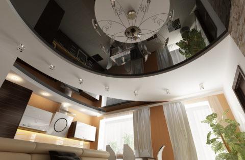 Комбинированный потолок из гипсокартона и натяжного полотна