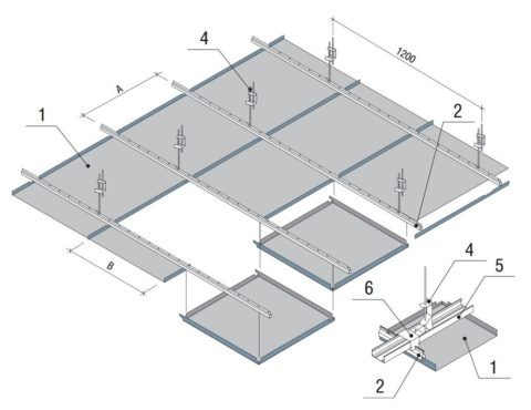 Конструкция реечного потолка с нижней укладкой кассет