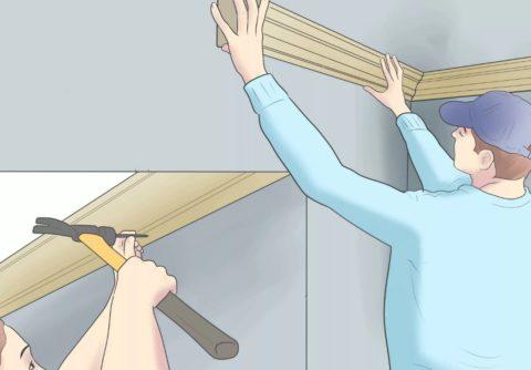 Крепление деревянного плинтуса шпильками