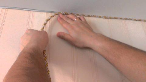 Крепление тканевого окантовочного шнура