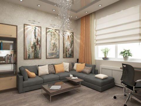 Кроме многоступенчатого потолка, уровни в пространстве создают картины триптихи