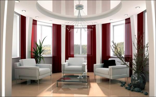 Круглая комната с натяжным потолком