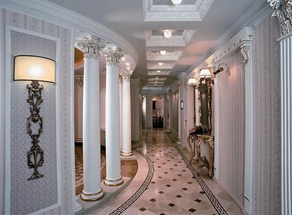 Кружевная роспись пилястр и обрамление светильников потолочным карнизом