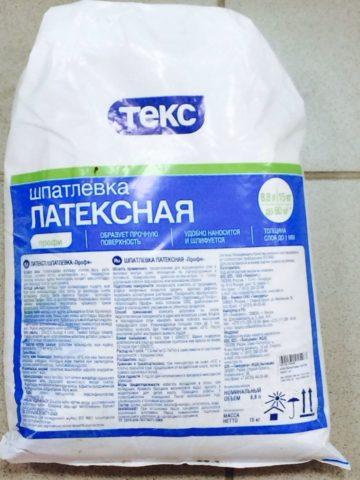 Латексная шпатлевка «Текс» в полиэтиленовом пакете