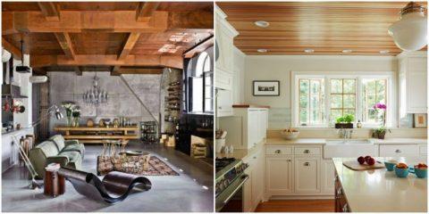 Массивные балки в гостиной и подшивной в невысоком помещении кухни создают атмосферу домашнего уюта и тепла
