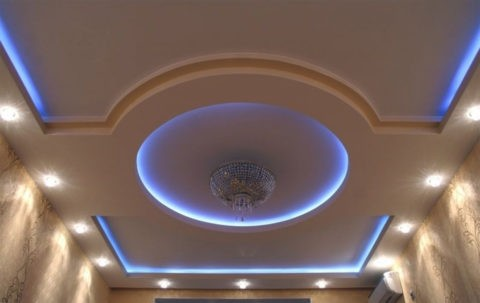 Многоуровневый гипсокартонный потолок с подсветкой