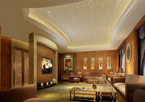 Многоуровневый потолок подойдет для высокого просторного помещения