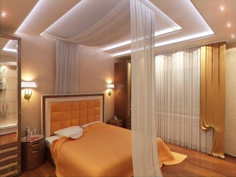 Многоуровневый потолок с подсветкой и декором
