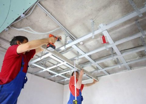 Монтаж подвесной гипсокартонной конструкции