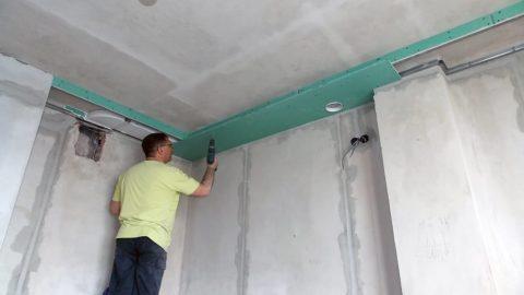 Монтаж вентканала в потолочном коробе из ГКЛ