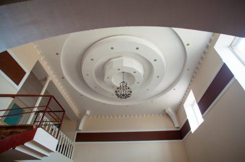 Монументальный потолок с многогранной объёмной фигурой