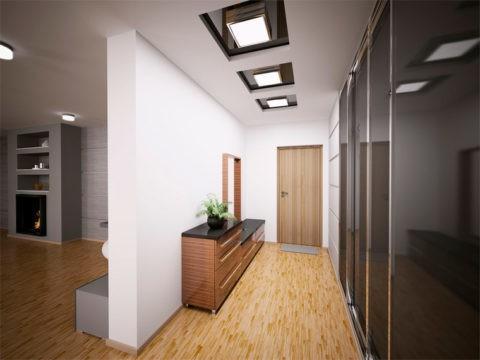 Мягкий рассеянный свет наполняет коридор