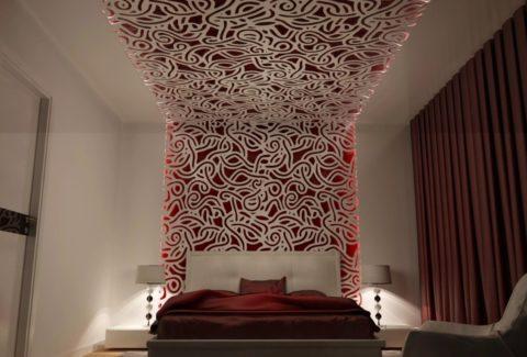 На фото - фрезерованный гипсокартон в дизайне спальни