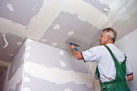 На фото – потолок из гипсокартона, готовится под отделку