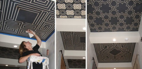 Нанесение трафаретных рисунков на гипсокартонный потолок