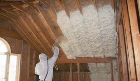 Напыление ППУ на потолок
