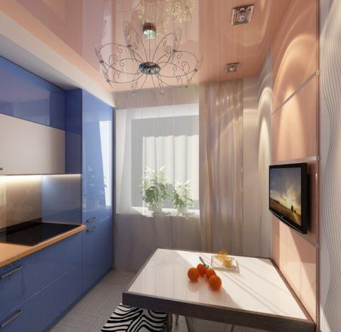 Натяжной потолок комбинированный из разных оттенков одного цвета