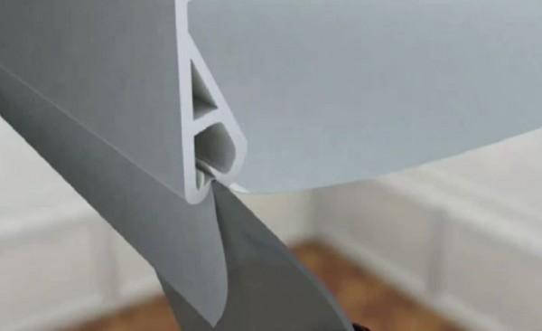 Крепеж тканевого бесшовного потолка