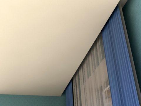 Натяжные потолки со скрытым карнизом для штор в нише