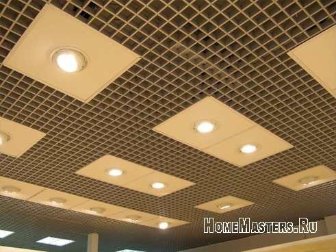 Растровый потолок с использованием стекловолоконных плит