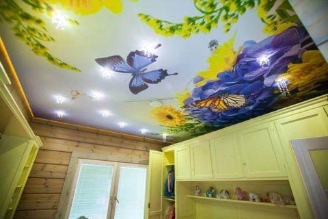 Натяжные ситцевые потолки с художественной росписью могут украсить детскую