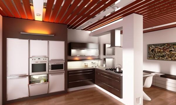 Навесной потолок реечный в интерьере кухни