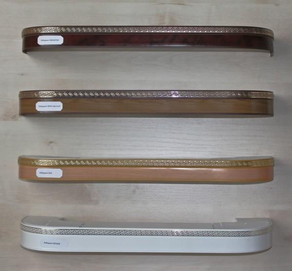 Несколько моделей карнизов для гардин, с различными декоративными накладками