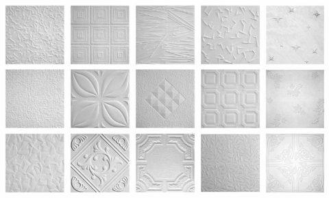 Несколько видов текстурных рисунков на потолочной плитке
