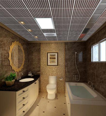 Несмотря на некоторую футуристичность, ячеистые потолки не выглядят чужеродно и в таком интерьере