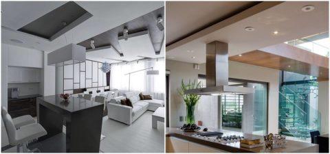 Оформление в просторной кухне, совмещенной с гостиной