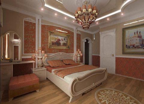 Оформление потолка в спальне