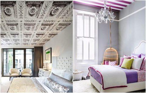 Оформление потолков в спальне