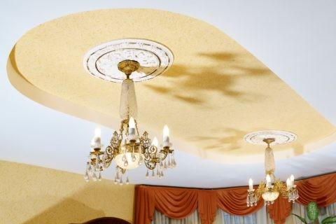 Оформление потолочной ниши в классическом интерьере