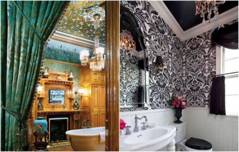 Оформления интерьера просторной ванной комнаты