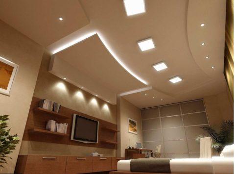 Окрашенный многоуровневый потолок из гипсокартона