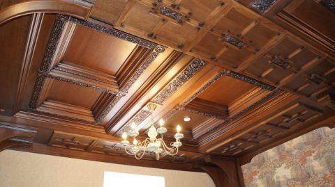 Оригинальное оформление кессонного потолка