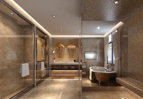Оригинальный потолок в два уровня: мозаичная плитка по гипсокартону и натяжное полотно с подсветкой