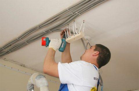 Освещение и натяжные потолки: монтаж платформы на мягкой подвеске