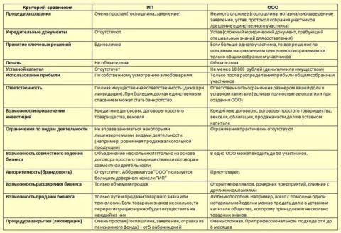 Отличительные особенности ведения бизнеса при открытии ООО и ИП