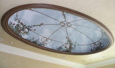 Овальные потолки из гипсокартона: пример реализованного правильного эллипса