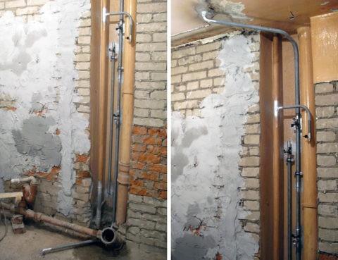 Перенос стояков: горизонтальные участки скроет подвесной потолок