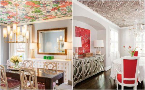 Пестрый рисунок можно выбирать для оформления обеденной зоны в просторном помещении