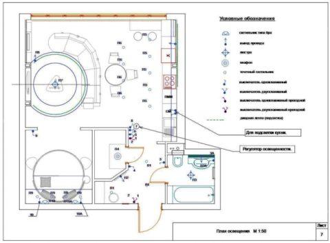 План освещения кухни