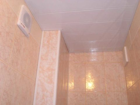 Пластиковый подвесной потолок туалета